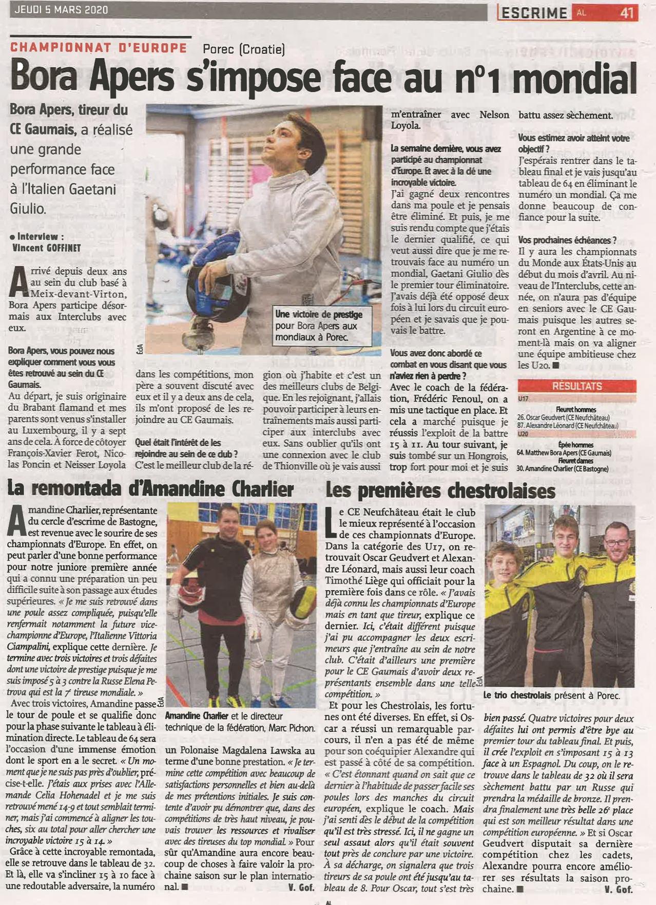 L'Avenir Luxembourg ALSport Amandine Charlier Bora Apers Escrime Championnats d'Europe Porec