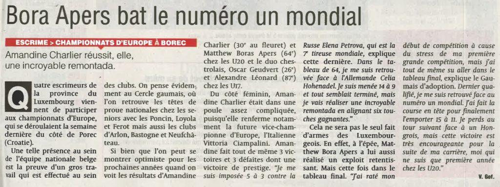 La Dernière Heure Porec Escrime Championnats d'Europe Bora